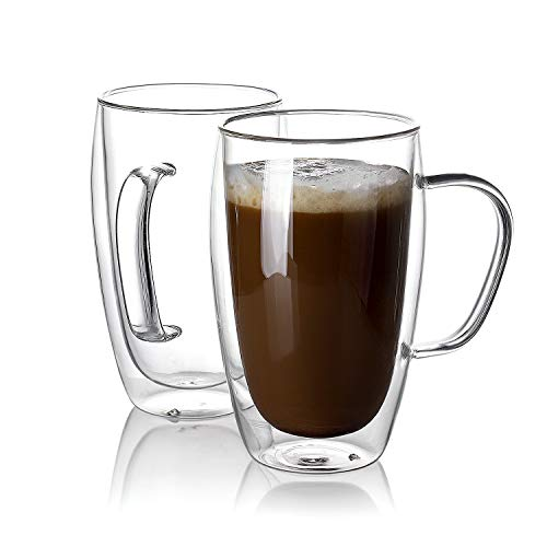 Sweese 4612 Glass Coffee Mugs Set of 2 - Double Wall Tall Insulated Tea Cup with Handle Glassware, Perfect for Cappuccino, Latte, Macchiato, Tea, Juice, Iced Beverages, 15 oz ()