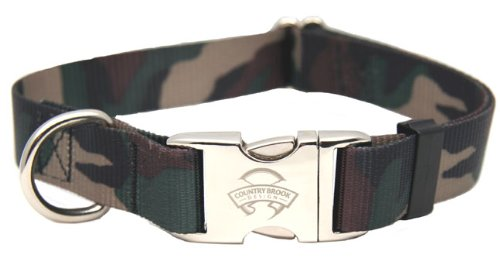 Country Brook Design Woodland Camo Premium Dog Collar - Large - Camouflage Buckle