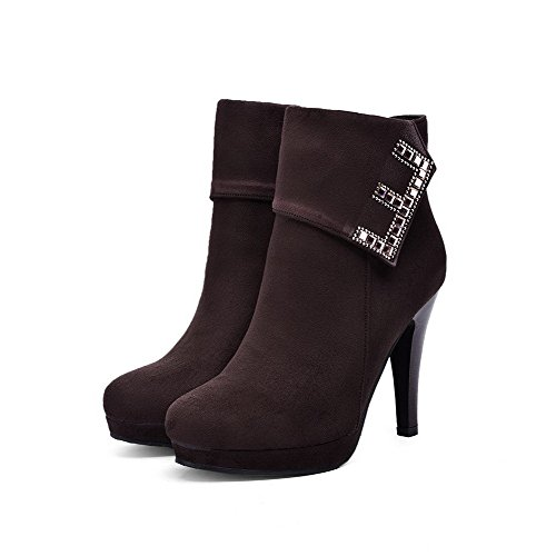 AgooLar Damen Rund Zehe Hoher Absatz Reißverschluss Stiefel mit Beschlagene Strass Braun