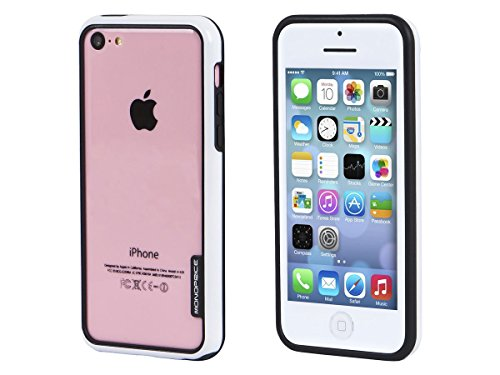 Monoprice PC and TPU Edge Bumper for iPhone 5c - Retail Packaging - White (Omega Bumper)