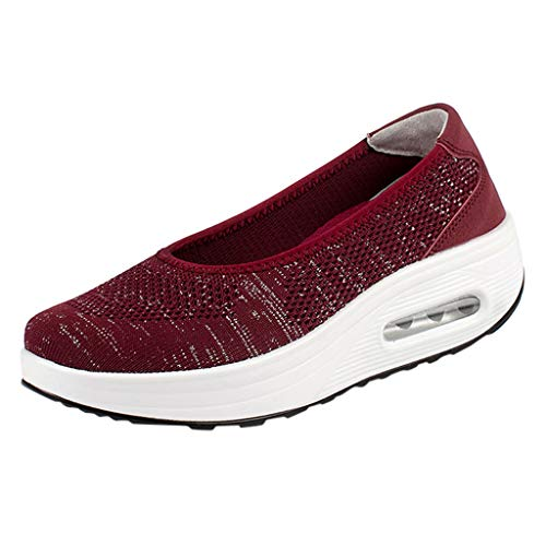 Haalife◕‿Womens Platform Walking Shoes Casual Slip on Comfortable Loafers Mesh Nurse Shoes Wine