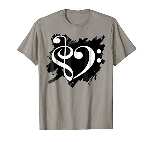 Treble Clef Bass Clef Music Heart Grunge Bassist T-Shirt