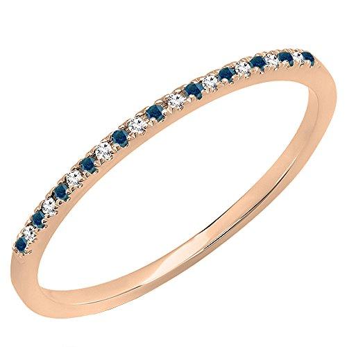 Round Anniversary Diamond Band (Dazzlingrock Collection 0.08 Carat (ctw) 14K Round Blue & White Diamond Ladies Dainty Wedding Band, Rose Gold, Size 6.5)