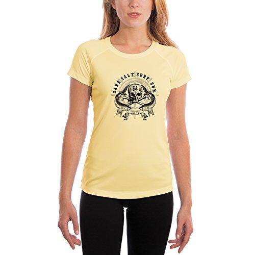 Captains Wheel Women's UPF 50+ Short Sleeve T-Shirt X-Large Pale Yellow