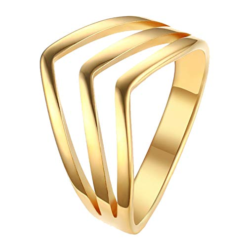 Gold V-shaped Ring Ring - Oakky Women's Stainless Steel 12mm Simple Hollow V Shaped Knuckle Ring Gold Size 8