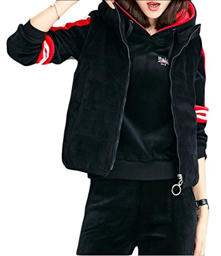 Sports Warm Tracksuit Sweatshirt Pants M amp;W Black amp;S Womens 3 Sets Zqc6Xq1tgH