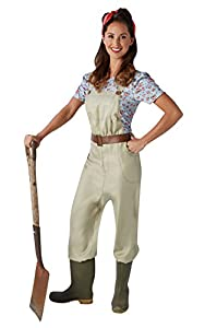 1940s Pants History- Overalls, Jeans, Sailor, Siren Suits Rubies Official Land Army Girl Adult Costume - Small £27.60 AT vintagedancer.com