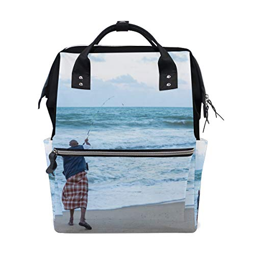Lonely Fisherman Fishing at Sunset Large Capacity Diaper Bags Mummy Backpack Multi Functions Nappy Nursing Bag Tote Handbag for Children Baby Care Travel Daily Women