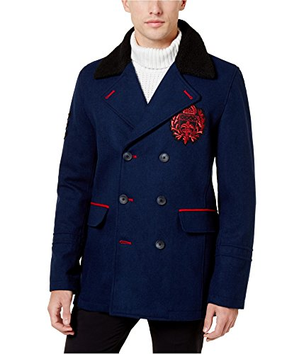 INC Mens Double-Breasted Embroidered Top Coat Navy M
