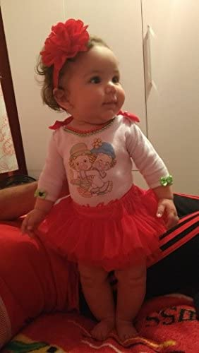 muyan Girls Cotton Tulle Ruffle with Bow Baby Bloomer Diaper Cover and Headband Set Red, L 12Month-24Month