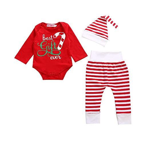 2PCS Toddler Kids Baby Boys Christmas Outfits Short Sleeve Tops+Shorts Pants Clothes Costumes Set 12M-5T (Red-Striped, 0-6months)]()