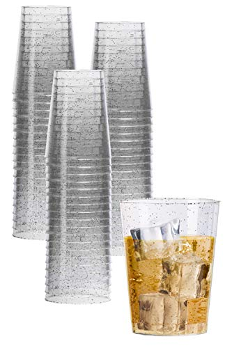 Exquisite 120 Count 10 oz Silver Glitter Clear Plastic Cups Tumblers - Hard Plastic Disposable Cups For Wedding Glasses - Plastic Party Cups For Cocktail Wine and - Ounce 10 Cocktail