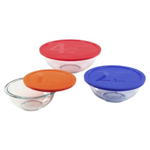Pyrex 1085308 Smart Essentials 6-Piece Mixing Bowl Set (Piece Smart 8 Essentials Pyrex)