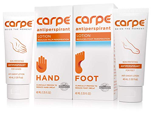 Hand & Foot : Treatments - Carpe Antiperspirant Hand and Foot Lotion Package Deal (1 Hand and 1 Foot Tube - Save 17%), Stop Sweaty Hands and Sweaty, Smelly Feet, Dermatologist-Recommended, Most-Popular