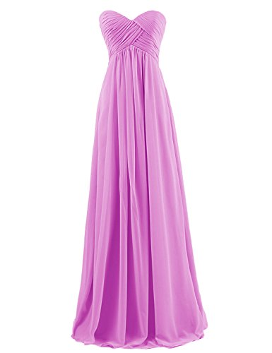 Dresstells Sweetheart Bridesmaid Chiffon Prom Dresses Long Evening Gowns for Juniors Size 12 Purple