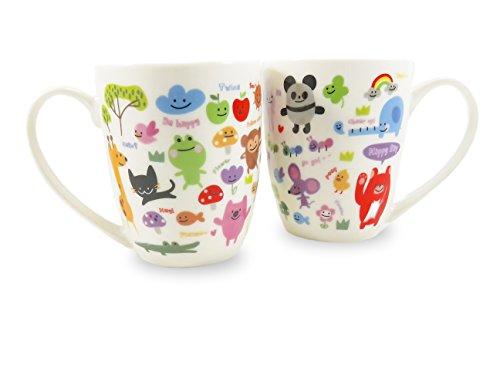Happy Animal Mugs Cups Kids Adults Tea Coffee 11 Fl Oz Ceramic (2 Piece Set) by Daiso Japan