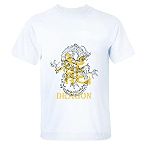 HappyAnimal Mens Traditional Chinese Dragon and the Dragon Graphics Tee Shirts L for Men white