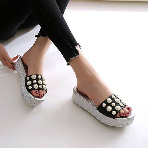 Bizcocho elegante 40 espesor ranurado Moda Transpirable AJUNR 5cm zapatos Perla pendiente con Sandalias 37 zapatillas black de de 5TUwWHOIWq