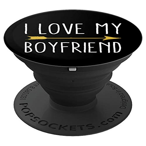 I Love My Boyfriend Tribal Arrow February Valentines Holiday - PopSockets Grip and Stand for Phones and Tablets