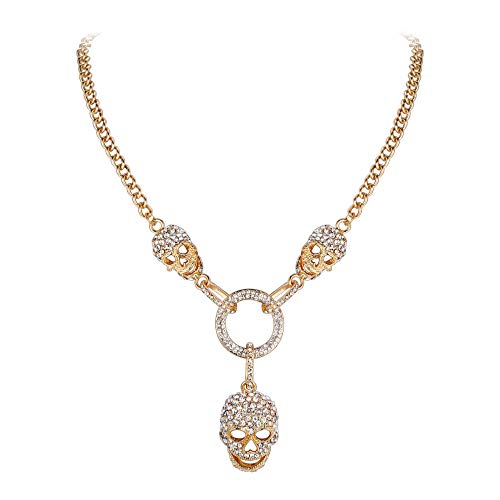 EVER FAITH Austrian Crystal 3 Skull Circle Halloween Gothic Style Pendant Necklace Clear Gold-Tone