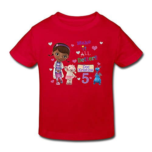 Radyk56rtyh Toddler's 100% Cotton Doc McStuffins Fashion T-Shirt Red US Size 4 Toddler -