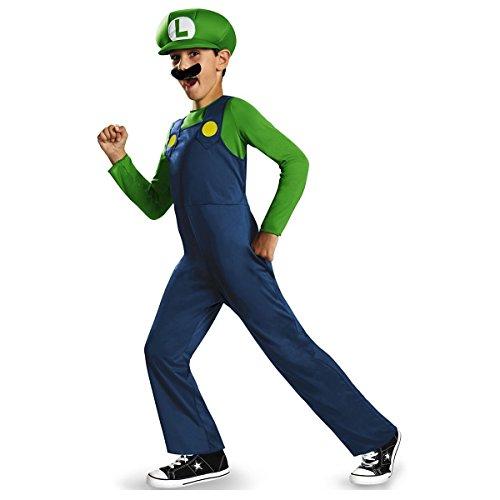 [Mario And Luigi Kids Child Super Mario Brothers Nintendo Costumes (Luigi Large)] (Mario Costumes Child)