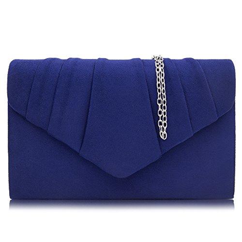 - Milisente Women Evening Bag Velvet Pleated Clutch Purse Envelope Clutches (Blue)