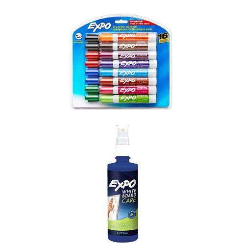 EXPO Low Odor Dry Erase Markers, Chisel Tip, Assorted, 16 Count