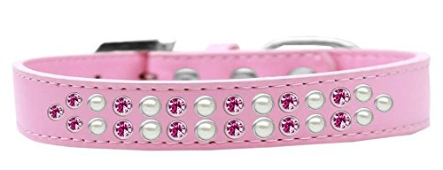 Size 12 Mirage Pet Products Two Row Pearl and Pink Crystal Light Pink Dog Collar, Size 12