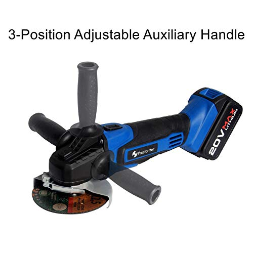 Prostormer 20V Max Cordless 4-1/2'' Angle Grinder with 3-Position Adjustable Auxiliary Handle, 1 x Cutting Wheel, 1 x Grinding Wheel, 4.0Ah Lithium-ion Battery and Fast Charger Included by Prostormer (Image #1)