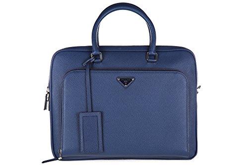 Prada briefcase attaché case laptop pc bag leather saffiano blu