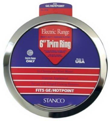 (STANCO METAL PROD GT-6 6 Chrome Trim Ring Triple Plated Chromed Steel Range Trim Rings by Stanco Metal Prod)