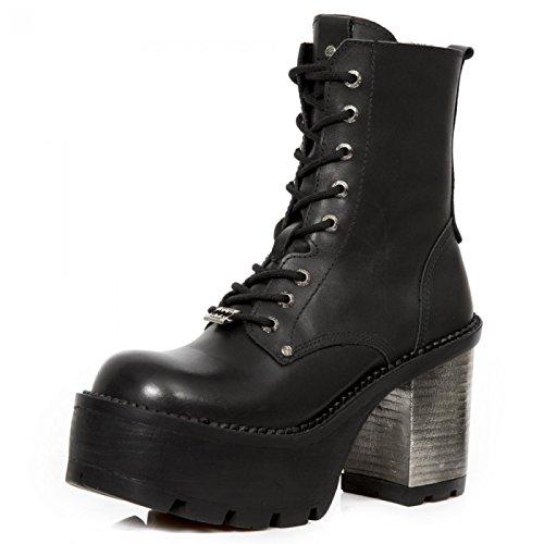 New Rock Laarzen M.seve02x-s2 Gothic Hardrock Punk Damen Stiefelette Schwarz