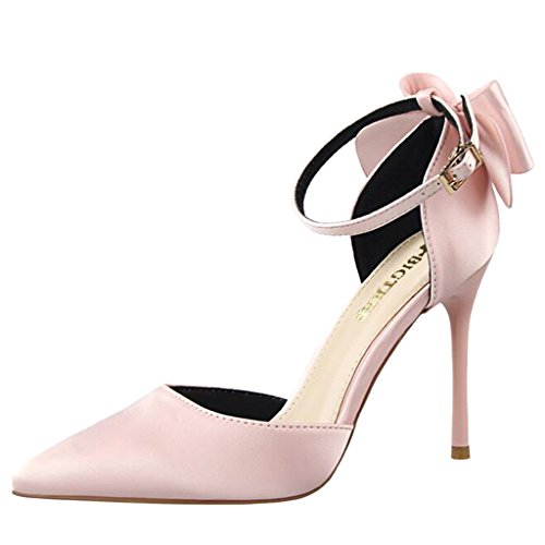 Binying Women's Pointed Toe Shallow Mouth Satin Bowknot High-Heel Stiletto Sandals Pink cmWQHnJ