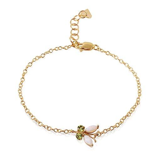 ALARRI 0.6 Carat 14K Solid Gold Flutter Opal Peridot Bracelet Size 7 Inch Length by ALARRI