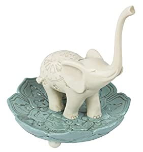 "Elegant Ceramic Good Luck Elephant Jewelry Ring Holder, White / Teal, Medium, 3.5"" x 3.5"""
