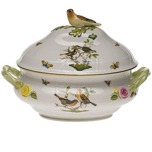 Herend Rothschild Bird Green Porcelain Tureen With Bird Handle
