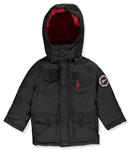 US Polo Association Little Boys' Outerwear Jacket (More Styles Available), UB49-Parka-Black, 7 (For Jackets Boys Size 7)