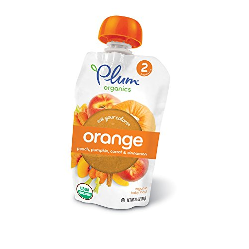 Plum Organics Stage 2 Eat Your Colors Orange, Organic Baby Food, Peach, Pumpkin, Carrot and Cinnamon, 3.5 ounce pouch (Pack of 6) (Pouch Color)