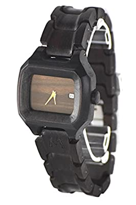 Wooden Watch for Men and Women - Alor Natural Ebony Wood Grain - Wrist Watches with Case - Matoa by WÜD