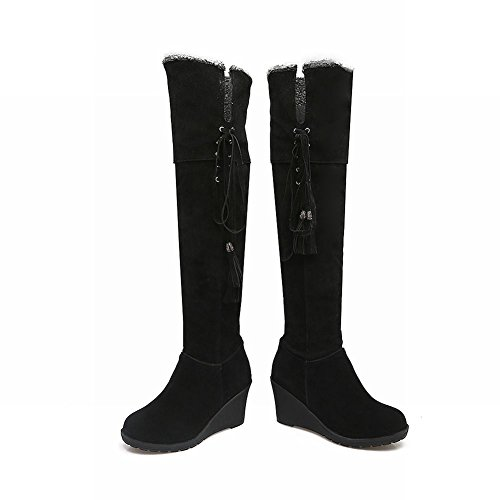 Mee Shoes Women's Charm Wedge Heel Lace Up Knee Boots Black vv6sRGOdUL