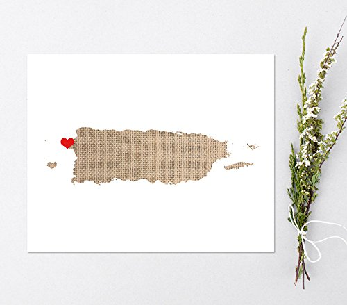Puerto Rico or ANY STATE Custom Map Art Print - Natural Series wood, burlap, sand Hometown Wall Decor unframed