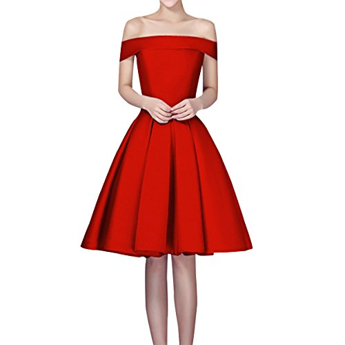 Sue&Joe Women's Fit and Flare Dress Satin Off the Shoulder Knee Length Prom Dress, Red, 6