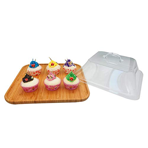 Wood Cupcake Stand with Clear Acylic Lid Cookie Fruits Dessert Pastry Display Serving Tray for Baby Shower Wedding Birthday Party Home Decoration -