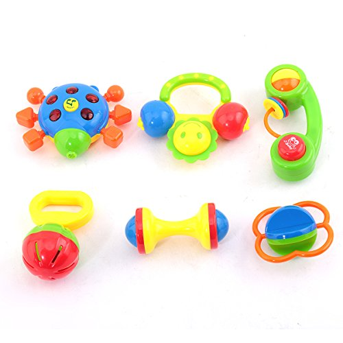 Phone Rattle (Baby Rattle KAWO Newborn Toys Fun Cartoon Musical Flash Teether Handle and Rattle Play Toy Gift Set for Infant 6 Pieces -Colors May)