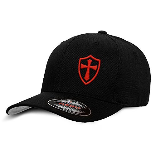 Crusader Knights Templar Cross Baseball Hat Large/X-Large Red on Black