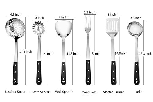 Stainless Steel Kitchen Utensil Set, P&P Chef 6 Piece Kitchen Cooking Utensils for Cooking and Serving- Strainer Spoon, Work Spatula, Slotted Turner, Pasta Server, Ladle, Meat Fork