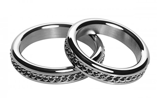 Master Series Metal Cock Ring with Chain Inlay, 1.75 inch