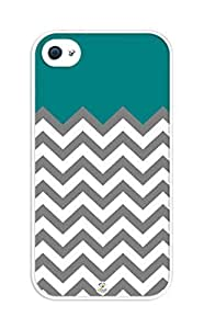 Zheng caseZheng caseiZERCASE Chevron Pattern White Gray Teal RUBBER iPhone 4/4s, iPhone 4/4sS case - Fits iPhone 4/4sT-Mobile, AT&T, Sprint, Verizon and International