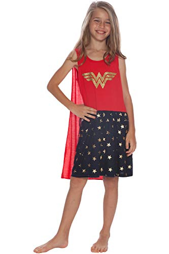DC Comics Girls' Big Wonder Woman Tank Nightgown with Cape, Multi, -